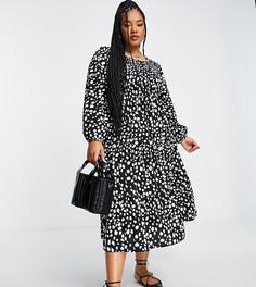 Присборенное платье миди черного цвета со звериным принтом и объемными рукавами Yours-Черный цвет