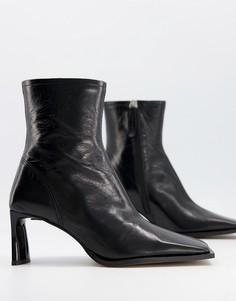 Черные ботинки из премиальной кожи на каблуке с квадратным носком ASOS DESIGN Remedy-Черный цвет