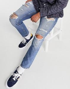 Синие джинсы слим с рваной отделкой ASOS DESIGN-Голубой