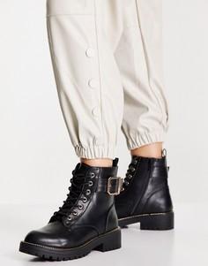 Черные ботинки на шнуровке с пряжкой New Look-Черный цвет