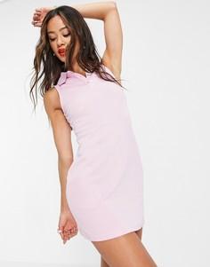 Светло-розовое платье мини без рукавов с воротником поло Urban Revivo-Розовый цвет