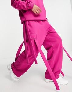 Ярко-розовые джоггеры карго в стиле oversized (от комплекта) ASOS DESIGN-Розовый цвет