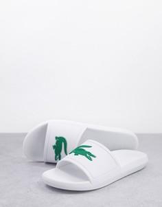 Белые шлепанцы Lacoste Croco-Белый