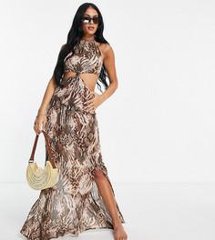 Пляжное платье миди с размытым звериным принтом, высоким воротом, узлом на талии и вырезами ASOS DESIGN Tall-Разноцветный