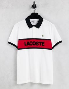 Футболка поло с блочным логотипом Lacoste-Белый