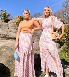Свободная юбка макси в яркую полоску Labelrail x Olivia & Alice-Розовый цвет