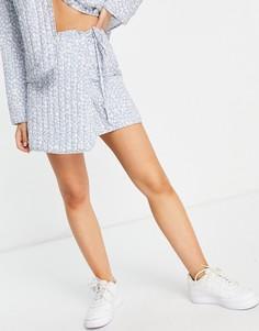Стеганая юбка-трапеция с запахом и цветочным принтом Annorlunda-Многоцветный