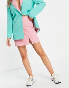 Мини-юбка трапеция с разрезом на бедре (от комплекта) Annorlunda-Розовый цвет
