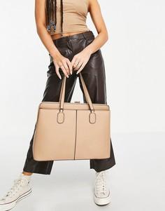 Серо-коричневая уплотненная сумка на плечо для ноутбука Forever New Harriet-Коричневый цвет