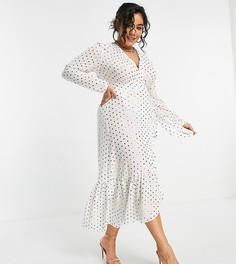 Белое платье миди с запахом на завязке и принтом в виде разноцветного горошка с эффектом металлик Never Fully Dressed Plus-Белый