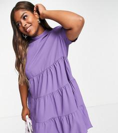 Ярусное платье с присборенной юбкой фиолетового цвета Lola May Plus-Фиолетовый цвет