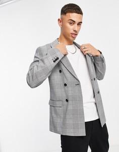 Свободный двубортный пиджак в клетку Jack & Jones Premium-Черный цвет