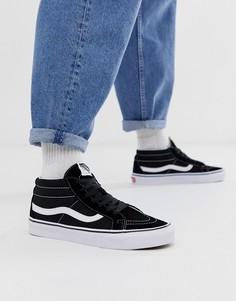 Черные кроссовки средней высота Vans SK8-Mid Reissue-Черный цвет