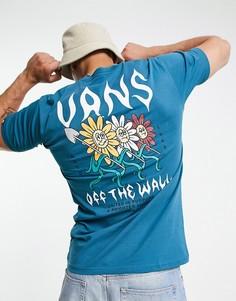 Голубая футболка с принтом на спине Vans Flower Power-Голубой