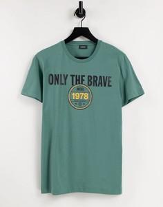 Бирюзовая футболка Diesel T-Diegos K30-Зеленый цвет