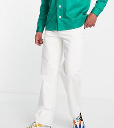 Белые мешковатые широкие джинсы в винтажном стиле с контрастной строчкой COLLUSION x014-Белый