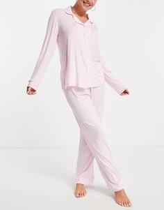 Трикотажная пижама розового цвета из экомодала с топом с отложным воротником и штанами Chelsea Peers-Розовый цвет