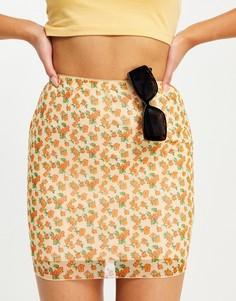Мини-юбка из сетчатого материала с летним цветочным принтом от комплекта Motel-Multi