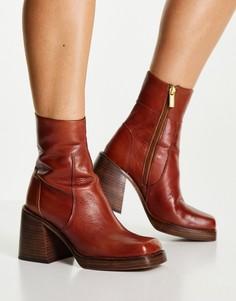 Коричневые кожаные ботинки на среднем каблуке ASOS DESIGN Region-Коричневый цвет