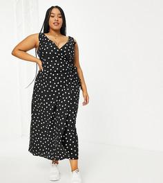Черное льняное платье макси в белый горошек с запахом ASOS DESIGN Curve-Разноцветный