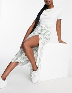 Белая юбка миди с разрезом на бедре и цветочным принтом ASOS DESIGN-Разноцветный
