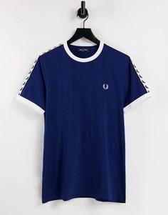 Темно-синяя футболка с контрастной лентой Fred Perry-Темно-синий