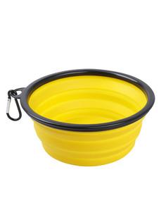 Одинарная миска для собак STEFAN, силикон, пластик, сталь, желтый, 1 л