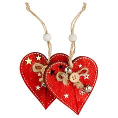 Елочное украшение ErichKrause «Сердце» 2 украшения 10х15х1 см