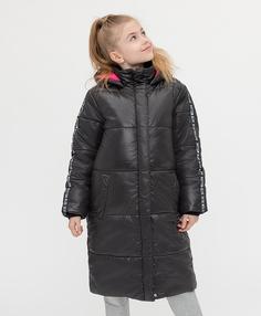 Пальто зимнее с капюшоном черное Button Blue