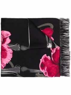 Alexander McQueen шарф с бахромой и цветочным узором