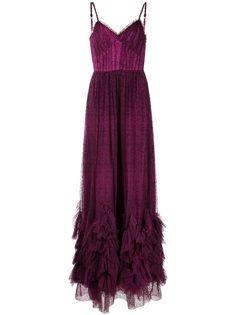 Marchesa Notte вечернее платье в горох с оборками