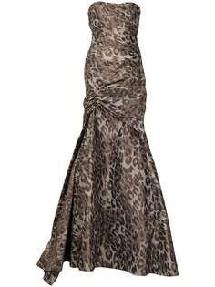 Monique Lhuillier вечернее платье с открытыми плечами и леопардовым принтом