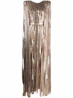 Elie Saab платье с пайетками и поясом