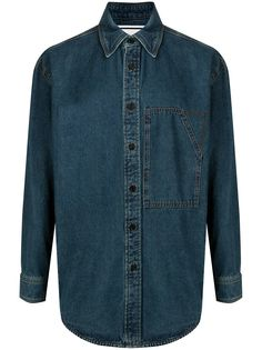 Wooyoungmi джинсовая рубашка оверсайз с логотипом