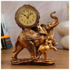 """Часы настольные Quartz """"Слониха и слоненок"""", 17*21 см Рубин"""