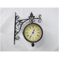 """Уличные часы на кронштейне с термометром двухсторонние """"Париж"""" диаметр 15 см Диорит XXI"""