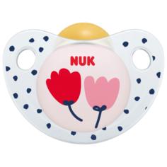 """NUK Пустышка орт. """"ADORE"""" латекс (6-18 месяцев)- Цветы (в контейнере)"""
