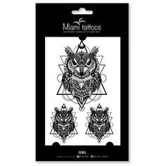 Miami tattoos Набор переводных тату Owl черный