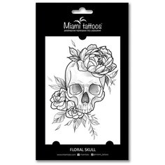 Miami tattoos Переводная татуировка Floral Skull черный