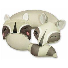 """Подушка для шеи антистресс с маской для сна Штучки, к которым тянутся ручки """"Енот"""", серо-зеленый"""