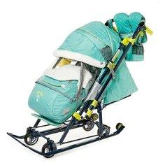 Nika Kids Санки-коляска «Ника Детям НД 7-7», дизайн в джинсовом стиле, цвет зелёный, с механизмом качания