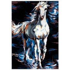 Канва жесткая с рисунком Белый конь в сизой дымке 45 х 60 см 14.767 Gobelin L, Diamant