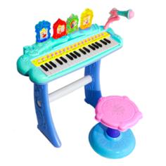 Детский синтезатор со стульчиком (2269-207) бирюзовый, 37 клавиш Combuy