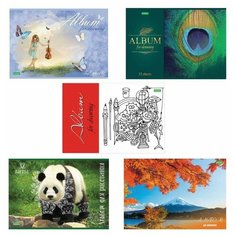 """Альбом для рисования, А4, 32 листа, скоба, обложка картон, HATBER """"ECO"""", 205х290 мм, Ассорти (5 видов), 32А4C"""