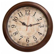 Часы настенные аналоговые Бюрократ WallC-R77P, диаметр 35 см, коричневый