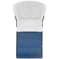 Конверт-мешок Nuovita Alpino Lux Bianco меховой 85 см blu scuro