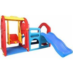 Детский игровой комплекс Haenim Toy HN-708 для дома и улицы: детская горка-волна, детские качели, лаз (производитель Южная Корея)
