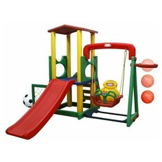 Детский игровой комплекс Happy Box JM-731B/D для дома и улицы: детская горка, баскетбольное кольцо с мячом, подвесные качели, футбольные ворота с мячом (производитель Южная Корея)