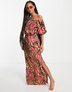 Пляжное платье макси с открытыми плечами с тропическим зебровым принтом ASOS DESIGN-Разноцветный