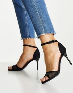 Черные туфли на шпильке с сетчатым верхом и ремешком New Look-Черный цвет